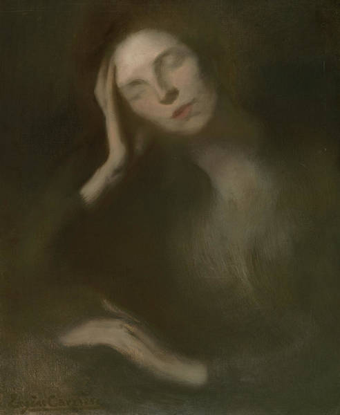 Wall Art - Painting - Woman Leaning On A Table, 1893 by Eugene Carriere