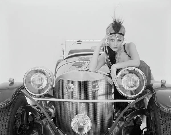Photograph - Woman Leaning On Car by Tom Kelley Archive