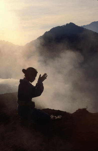Hindu Photograph - Woman Leaving An Offering On Mt Batur by Margie Politzer