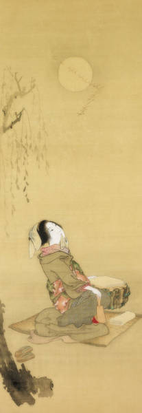 Wall Art - Painting - Woman Looking At The Moon by Teisai Hokuba