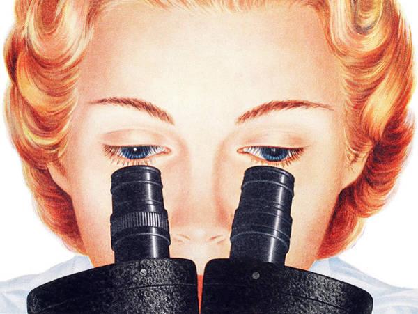 Blue Eye Digital Art - Woman Looking In Microscope by Graphicaartis