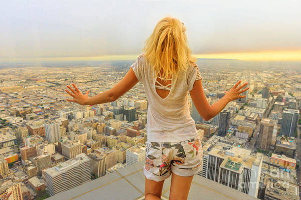 Photograph - Woman Looking Los Angeles Skyline by Benny Marty