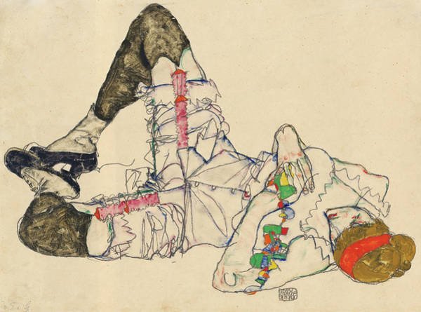 Wall Art - Painting - Woman Lying On Her Back, 1914 by Egon Schiele