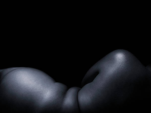 Buttocks Photograph - Woman Naked, Against Black Background by Stuart Mcclymont