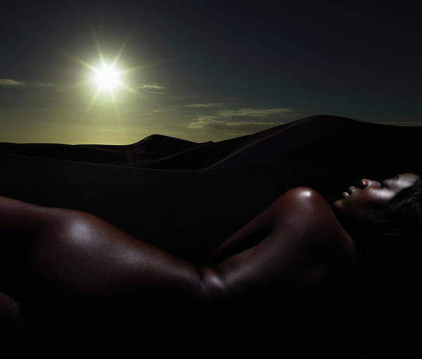 Buttocks Photograph - Woman, Naked Against Sunset, Lensflare by Stuart Mcclymont