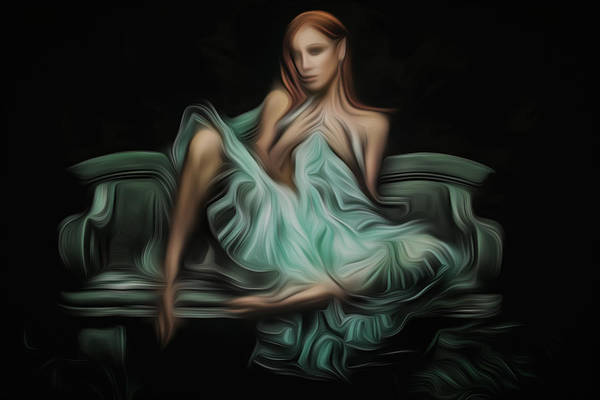 Wall Art - Painting - Woman On A Bench by Naman Imagery
