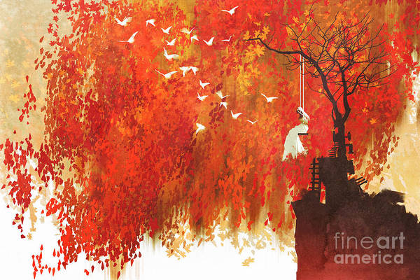 Wall Art - Digital Art - Woman On A Swing Under Autumn by Tithi Luadthong