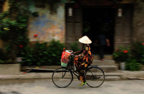 Hoi An Photograph - Woman On Bicycle, Hoi An, Vietnam by Jeremy Horner
