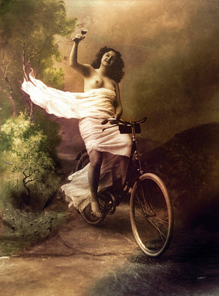 Digital Art - Woman On Bicycle by Robert G Kernodle