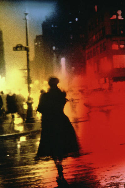 Photograph - Woman On Misty Multi-colored Street by Alfred Gescheidt