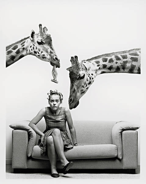 Adult Humor Photograph - Woman On Sofa, 2 Giraffes Above Her by Mike Berceanu