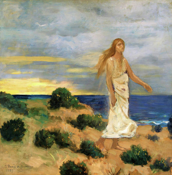 Wall Art - Painting - Woman On The Beach - Digital Remastered Edition by Pierre Puvis de Chavannes