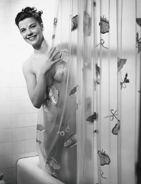 Covering Photograph - Woman Peering Through Shower Curtain by George Marks