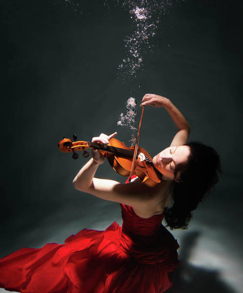 Underwater Photograph - Woman Playing Violin Underwater by Henrik Sorensen