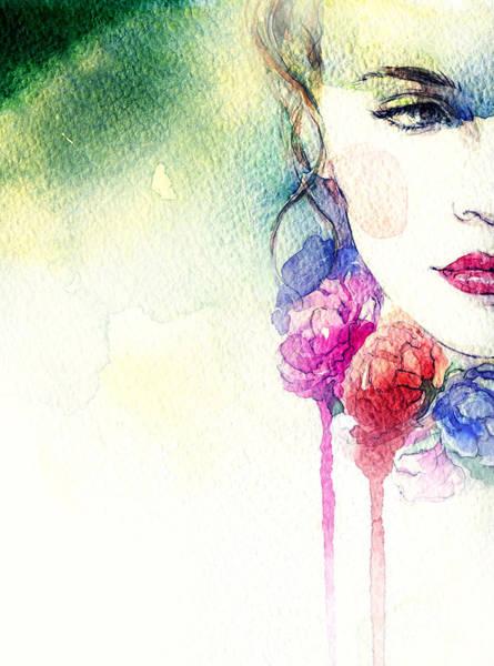 Face Paint Wall Art - Digital Art - Woman Portrait .abstract Watercolor by Anna Ismagilova