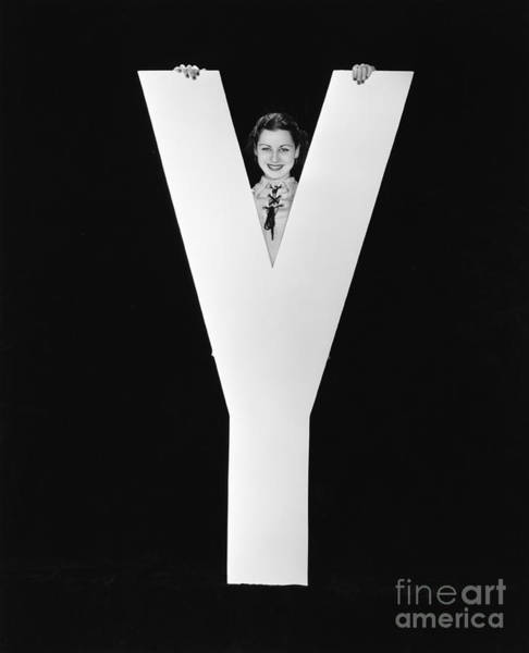 Caucasian Wall Art - Photograph - Woman Posing Behind Huge Letter Y by Everett Collection