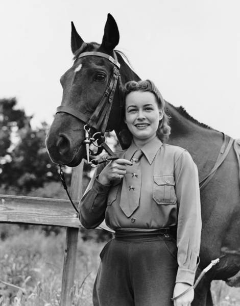 Wall Art - Photograph - Woman Posing With Horse by George Marks