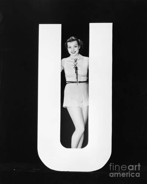 Wall Art - Photograph - Woman Posing With Huge Letter U by Everett Collection