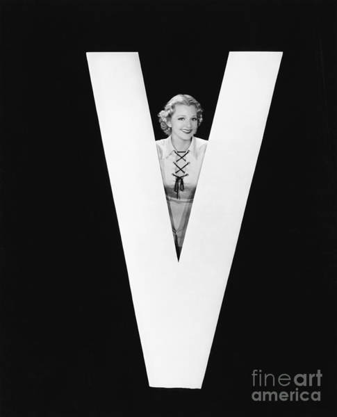 Wall Art - Photograph - Woman Posing With Huge Letter V by Everett Collection