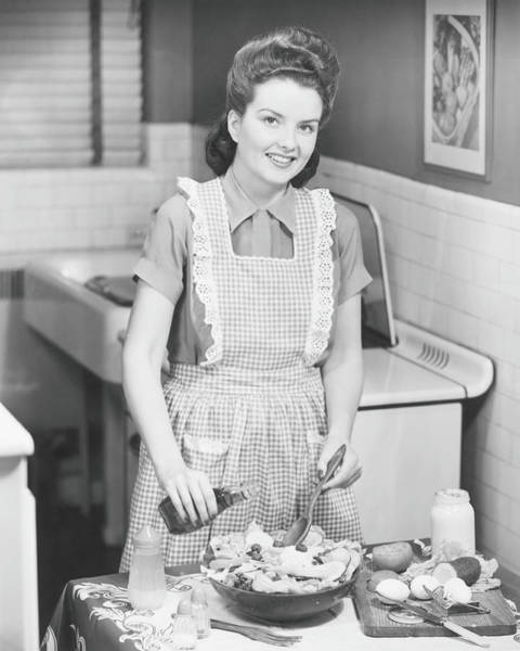 Apron Photograph - Woman Preparing Salad In Kitchen , B&w by George Marks