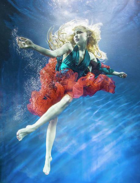 Underwater Photograph - Woman Reaching Underwater by Zena Holloway