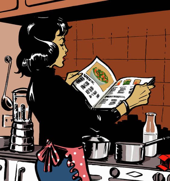 Apron Digital Art - Woman Reading Cookbook In Kitchen by Jacquie Boyd