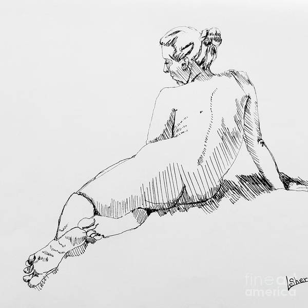 Drawing - Woman Relaxing by Lorraine Germaine