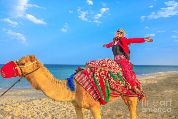 Photograph - Woman Riding Camel by Benny Marty