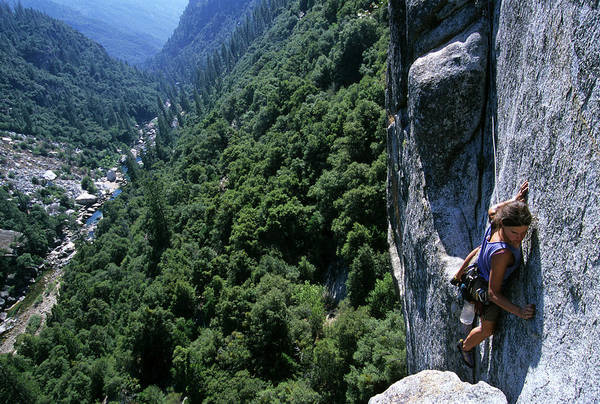 Object Photograph - Woman Rock Climbing High Above River by Heath Korvola