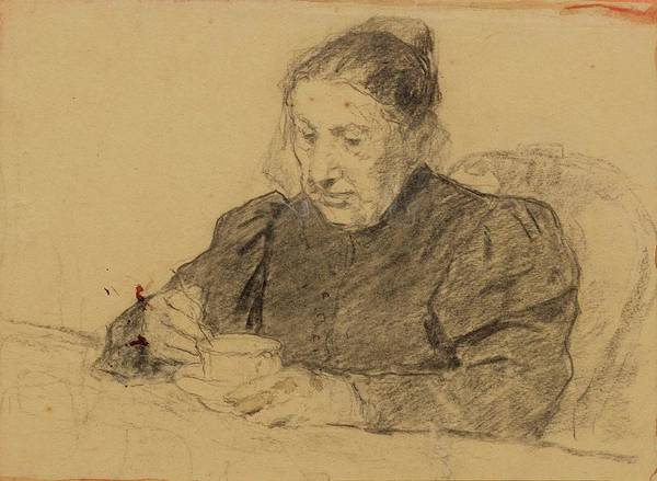 Anker Digital Art - Woman Seated At A Table Drinking Coffee by Brahaman Dhumsi