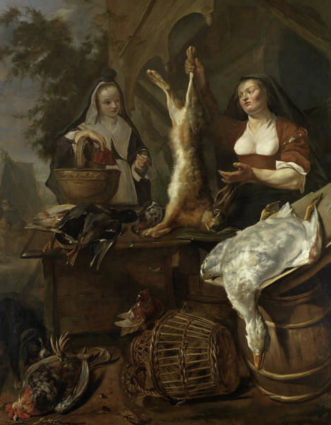 Wall Art - Painting - Woman Selling Game From A Stall by Gabriel Metsu