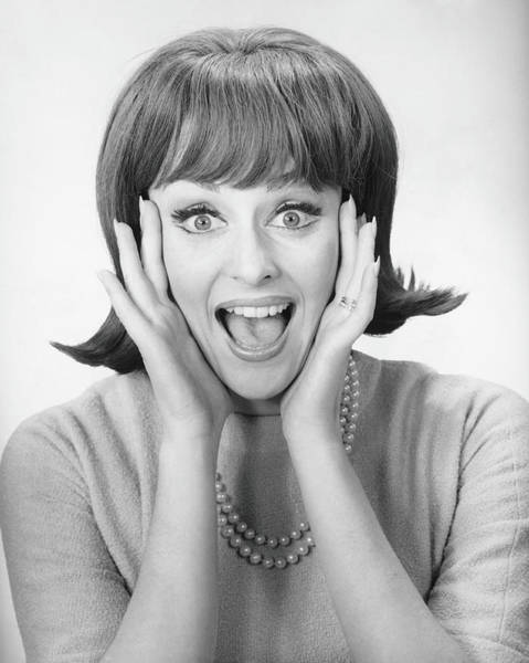 Excess Photograph - Woman Shouting In Studio, B&w, Portrait by George Marks