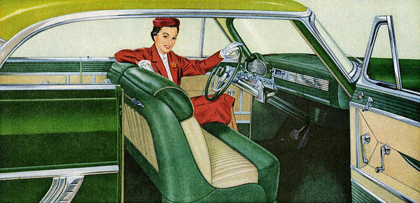 Archival Digital Art - Woman Sitting In 1950s Coupe by Graphicaartis