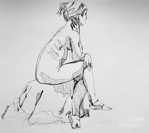 Drawing - Woman Sitting by Lorraine Germaine
