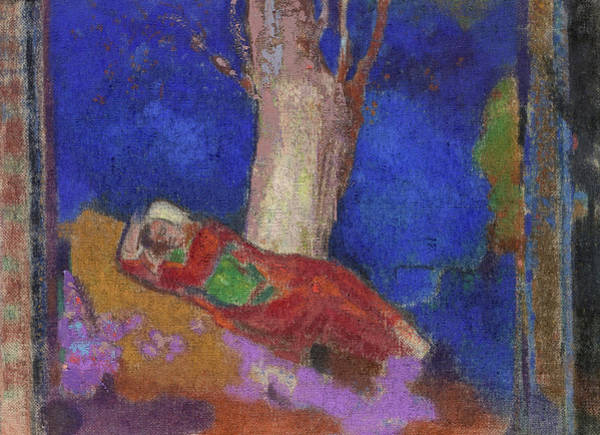 Wall Art - Painting - Woman Sleeping Under The Tree, 1901  by Odilon Redon