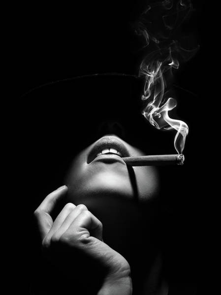 Wall Art - Photograph - Woman Smoking A Cigar by Johan Swanepoel