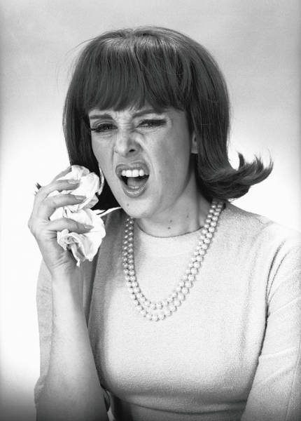 Hairstyle Photograph - Woman Sneezing In Studio, B&w by George Marks