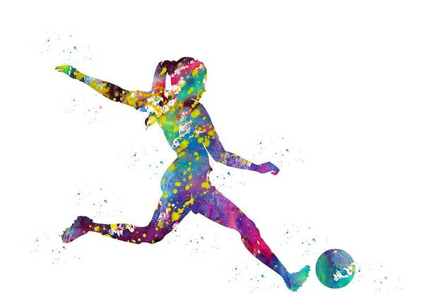 Wall Art - Digital Art - Woman Soccer Player by Erzebet S