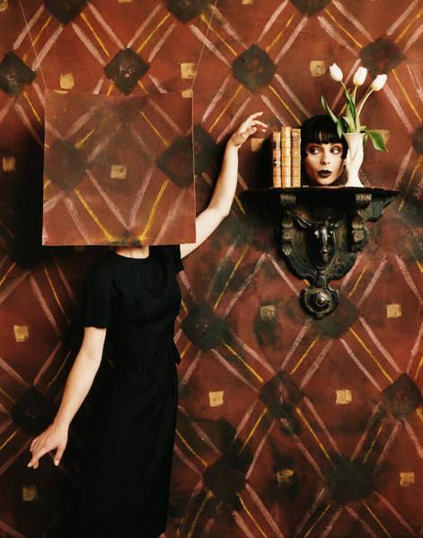Reach Wall Art - Photograph - Woman Standing Behind Panel, Head by Eric Tucker