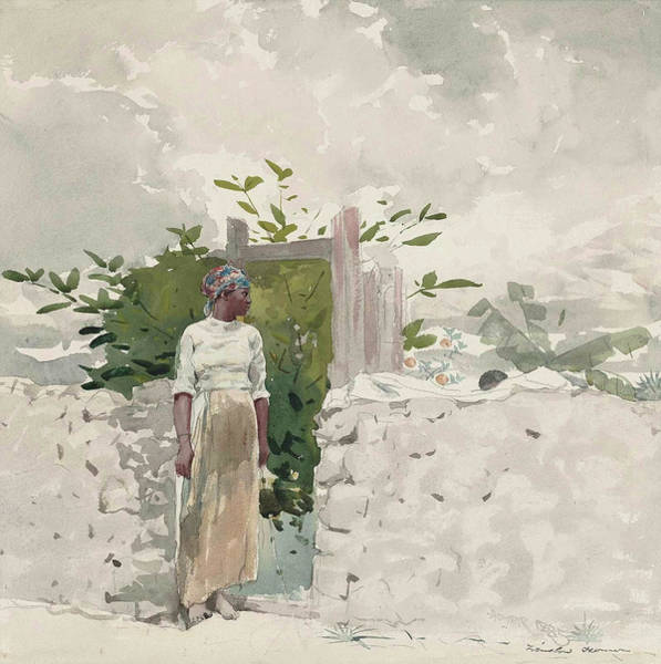 Wall Art - Painting - Woman Standing By A Gate, Bahamas by Winslow Homer