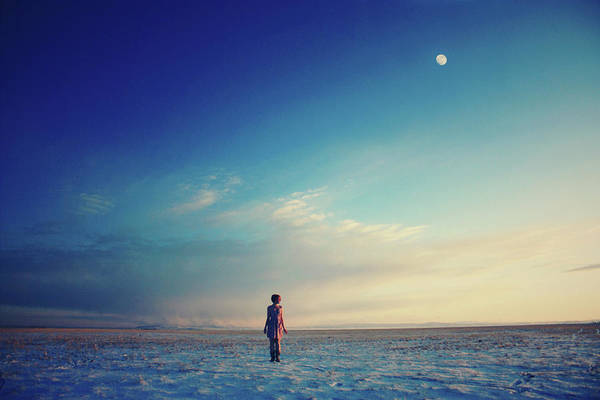 Laramie Photograph - Woman Standing In Snow In Empty Field by Jessica Neuwerth Photography