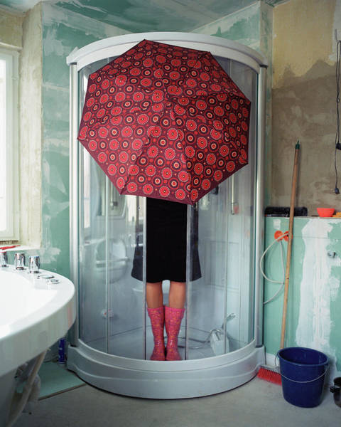 Domestic Life Photograph - Woman Standing Under Umbrella In Shower by Silvia Otte