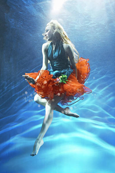 Underwater Photograph - Woman Suspended Underwater by Zena Holloway