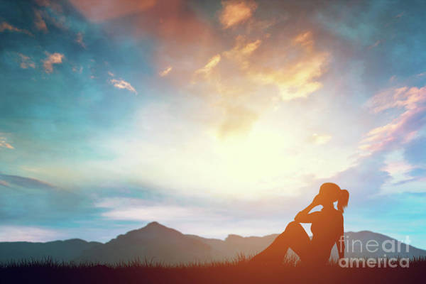 Wall Art - Photograph - Woman Talking On Phone While Relaxing Outdoors At Sunset. by Michal Bednarek