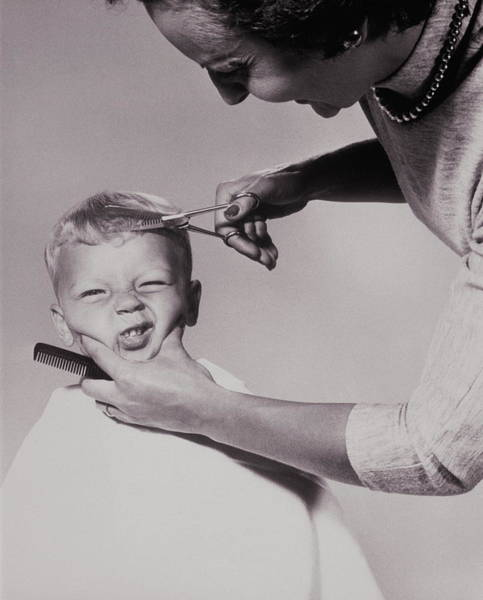 Disgusting Photograph - Woman Trimming Boys Hair, 1960s by Archive Holdings Inc.