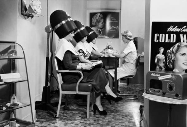 Old People Photograph - Woman Under Hair Dryer, Beauty Parlor by Petrified Collection