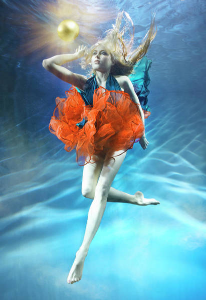 Pool Ball Photograph - Woman Underwater With Gold Ball by Zena Holloway