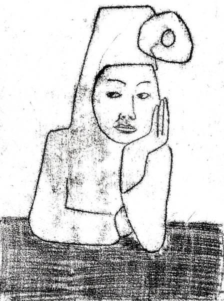Drawing - Woman Waiting At A Bar by Artist Dot