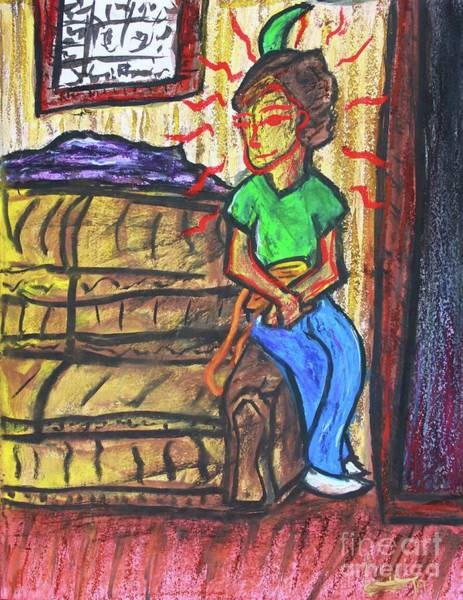 Drawing - Woman Waiting Patiently by Odalo Wasikhongo