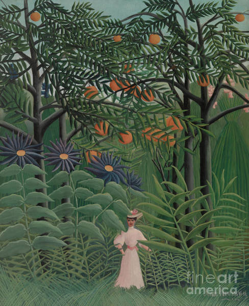 Wall Art - Painting - Woman Walking In An Exotic Forest, 1905 by Henri Rousseau